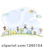Clipart Of Sketched Stick Kids Jumping At A Campground Royalty Free Vector Illustration