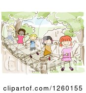 Clipart Of Sketched Stick Kids At A Hanging Bridge Royalty Free Vector Illustration
