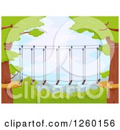 Clipart Of A Foot Bridge Connecting Trees Royalty Free Vector Illustration