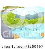 Clipart Of A Ring Bridge Connecting Trees Over A River Royalty Free Vector Illustration