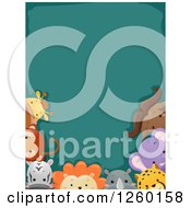Teal Background Bordered With Safari And African Animals