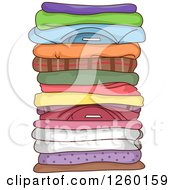 Clipart Of A Stack Of Folded Clothes Royalty Free Vector Illustration