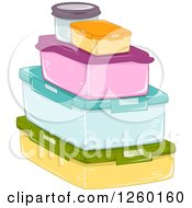 Clipart Of A Stack Of Colorful Food Containers Royalty Free Vector Illustration by BNP Design Studio