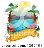 Clipart Of A Parchment Banner With A Tropical Hawaiian Ocean Scene Royalty Free Vector Illustration
