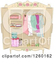 Clipart Of A Shabby Chic Armoire With Ladies Clothing Royalty Free Vector Illustration by BNP Design Studio