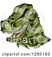 Clipart Of A Green Dinosaur Mascot Royalty Free Vector Illustration