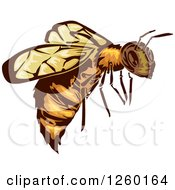 Clipart Of A Flying Bee Mascot Royalty Free Vector Illustration