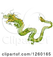 Clipart Of A Green And Yellow Chinese Dragon Mascot Royalty Free Vector Illustration by BNP Design Studio