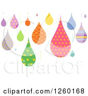 Clipart Of Colorful Patterned Droplets On White Royalty Free Vector Illustration