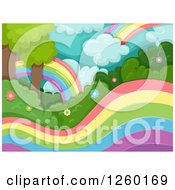 Clipart Of A Magical Forest With Rainbows Royalty Free Vector Illustration by BNP Design Studio