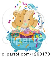 Clipart Of A Cute Baby Bear In A Tub Full Of Presents Royalty Free Vector Illustration by BNP Design Studio