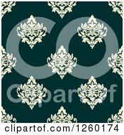 Clipart Of A Seamless Pattern Background Of Vintage Damask Floral Royalty Free Vector Illustration