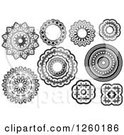Clipart Of Black And White Medieval Lace Circle Designs Royalty Free Vector Illustration