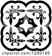 Clipart Of A Black And White Medieval Lace Circle Design Royalty Free Vector Illustration