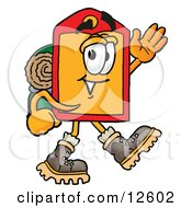 Price Tag Mascot Cartoon Character Hiking And Carrying A Backpack