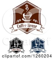 Clipart Of Coffee House Designs Royalty Free Vector Illustration