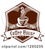 Clipart Of A Brown Coffee House Design Royalty Free Vector Illustration
