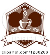 Clipart Of A Brown Coffee Design With A Blank Banner Royalty Free Vector Illustration by Vector Tradition SM