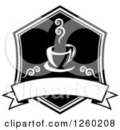 Clipart Of A Black And White Coffee Design With A Blank Banner Royalty Free Vector Illustration