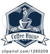 Clipart Of A Navy Blue Coffee House Design Royalty Free Vector Illustration