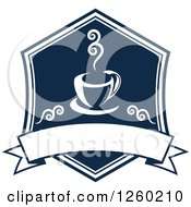 Clipart Of A Navy Blue Coffee Design With A Blank Banner Royalty Free Vector Illustration