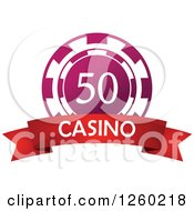 Clipart Of A Pink 50 Poker Chip With A Casino Text Banner Royalty Free Vector Illustration