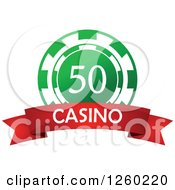 Clipart Of A Green 50 Poker Chip With A Casino Text Banner Royalty Free Vector Illustration