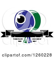 Clipart Of A Ping Pong Ball And Table Tennis Paddles With A Blank Banner Royalty Free Vector Illustration