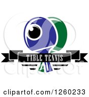 Clipart Of A Ping Pong Ball And Table Tennis Paddles With A Text Banner Royalty Free Vector Illustration by Vector Tradition SM