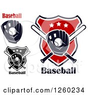 Clipart Of Baseballs In Mitts With Bats Shields And Text Royalty Free Vector Illustration