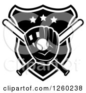 Clipart Of A Black And White Baseball In A Mitt Over Crossed Bats And A Shield Royalty Free Vector Illustration