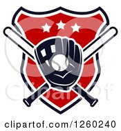 Clipart Of A Baseball In A Mitt Over Crossed Bats On A Shield Royalty Free Vector Illustration