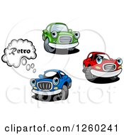 Clipart Of Red Green And Blue Car Characters Royalty Free Vector Illustration