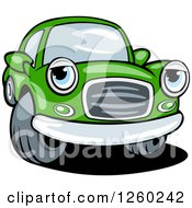 Clipart Of A Green Car Character Royalty Free Vector Illustration