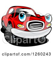 Clipart Of A Red Car Character Royalty Free Vector Illustration