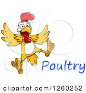 Clipart Of A Jumping Chicken With Text Royalty Free Vector Illustration by Vector Tradition SM