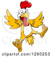 Clipart Of A Jumping Chicken Royalty Free Vector Illustration by Seamartini Graphics