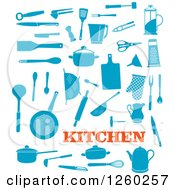 Clipart Of Blue Kitchen Accessories Royalty Free Vector Illustration by Vector Tradition SM