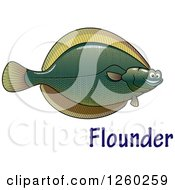 Clipart Of A Happy Flounder Fish Over Text Royalty Free Vector Illustration