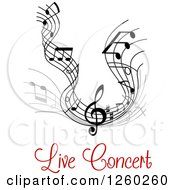 Clipart Of Grayscale Flowing Music Notes And Red Live Concert Text Royalty Free Vector Illustration