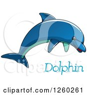 Clipart Of A Blue Dolphin Jumping Over Text Royalty Free Vector Illustration by Vector Tradition SM