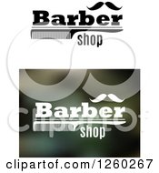 Clipart Of Barber Shop Designs With A Comb And Mustache Royalty Free Vector Illustration