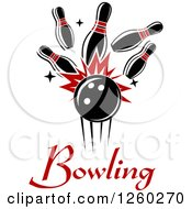 Poster, Art Print Of Bowling Ball Crashing Into Pins Over Text