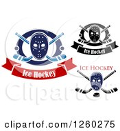 Clipart Of Hockey Masks With Sticks And Pucks Royalty Free Vector Illustration