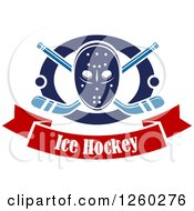 Clipart Of A Hockey Mask Over Crossed Sticks And Pucks In A Ring Above A Text Banner Royalty Free Vector Illustration