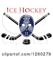 Clipart Of A Hockey Mask Over Crossed Sticks And A Puck Under Text Royalty Free Vector Illustration