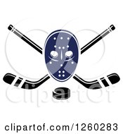 Clipart Of A Hockey Mask Over Crossed Sticks And A Puck Royalty Free Vector Illustration by Vector Tradition SM