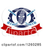 Clipart Of A Hockey Mask Over Crossed Sticks And Pucks In A Ring Above A Blank Banner Royalty Free Vector Illustration by Vector Tradition SM