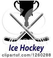 Clipart Of Crossed Hockey Sticks Over A Trophy And Text Royalty Free Vector Illustration
