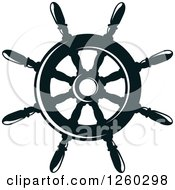 Clipart Of A Black And White Ship Helm Royalty Free Vector Illustration